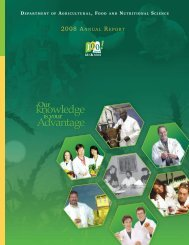 2008 AnnuAl RepoRt - Agricultural, Food and Nutritional Science