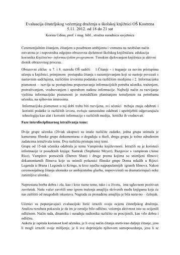Evaluacija čitateljskog večernjeg druženja u školskoj knjižnici OŠ ...