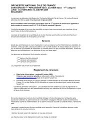 ORCHESTRE NATIONAL D'ILE DE FRANCE Règlement du concours