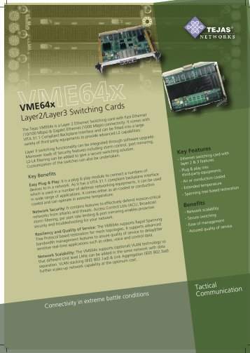 Military-grade, VME-compatible, L2/L3 card for - Tejas Networks