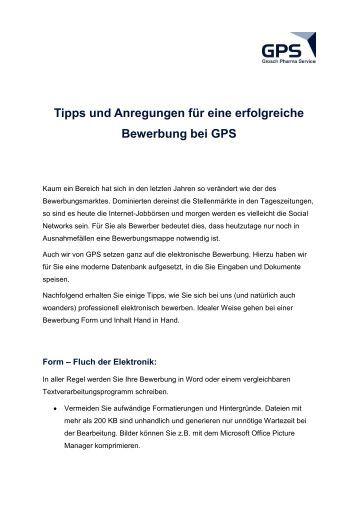 tipps und anregungen fr eine erfolgreiche bewerbung bei gps - Bewerbung Tippscom