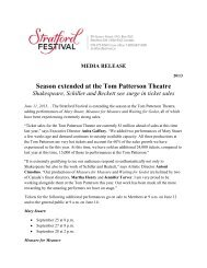 Season extended at the Tom Patterson Theatre - Stratford Festival