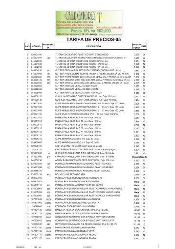 Copia de TARIFA EXCEL EUROPSTAR-2012 - Calle Catorce