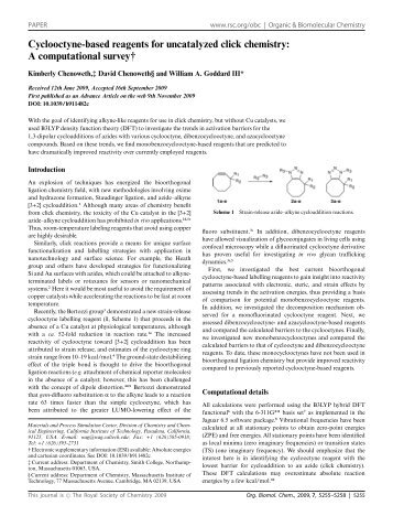 Cyclooctyne-based reagents for uncatalyzed click chemistry: A ...