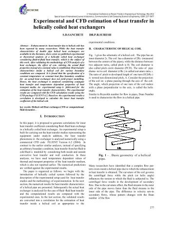 Experimental and CFD estimation of heat transfer in helically coiled ...