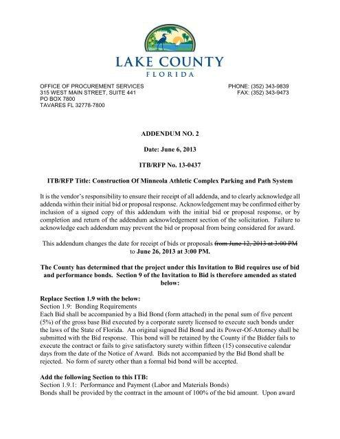ADDENDUM NO. 2 Date: June 6, 2013 ITB/RFP No ... - Lake County