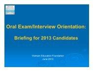 Oral Exam/Interview Orientation: - Vietnam Education Foundation