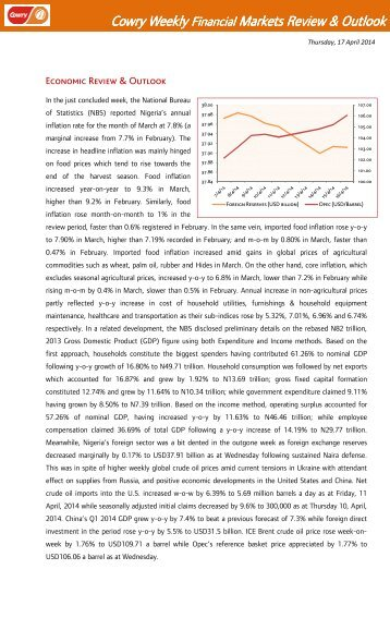Cowry Weekly Financial Market Review Outlook April 17 2014