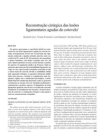 Reconstrução cirúrgica das lesões ligamentares agudas do cotovelo*