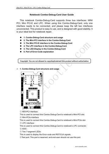 Notebook Combo-Debug-Card User Guide