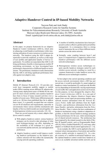 Adaptive Handover Control in IP-based Mobility Networks