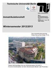 Wintersemester 2012/2013 - IA Zulassung und Immatrikulation - TU ...