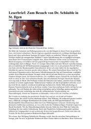 Leserbrief: Zum Besuch von Dr. Schäuble in St. Ilgen Die Höhe der ...
