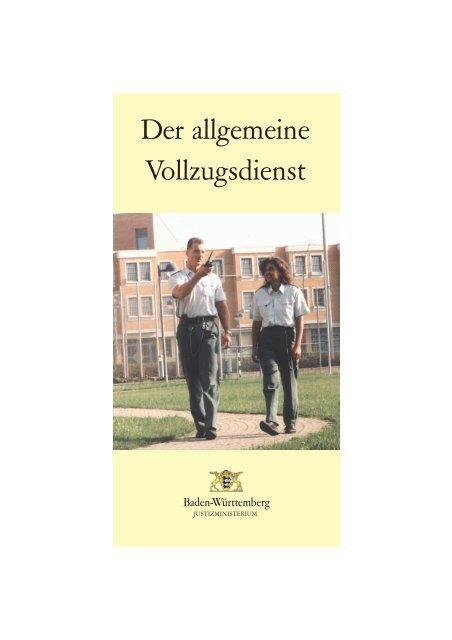 Broschure Der Vollzugsdienst Justizvollzugsanstalt Heimsheim