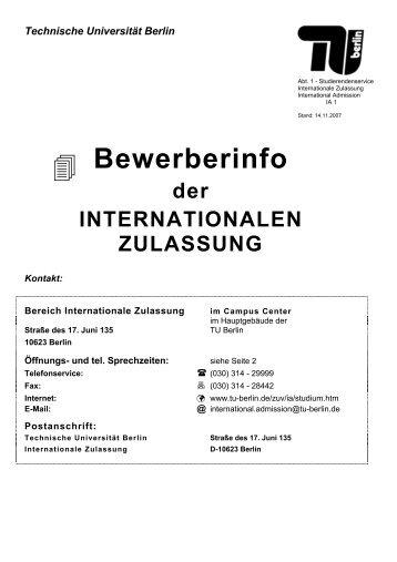 Bewerberinfo - Fakultät VI Planen Bauen Umwelt - TU Berlin