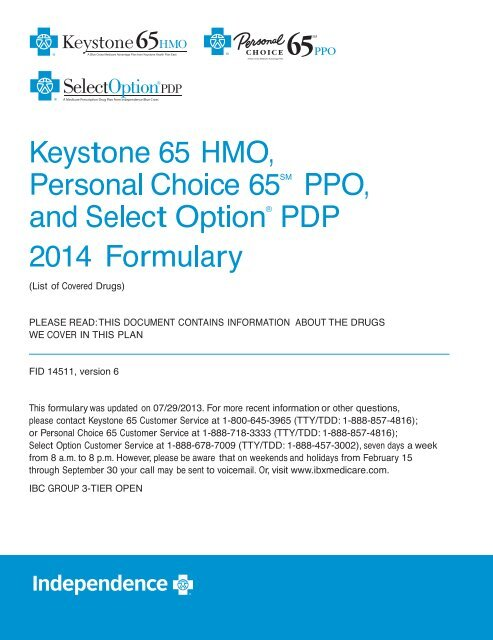 Download the 2014 Independence Blue Cross 3     - IBXMedicare com