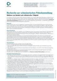 Recherche zur schweizerischen Patentanmeldung