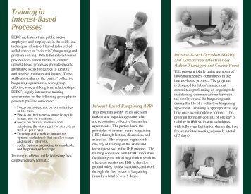 Interest-Based Bargaining (IBB) Brochure - Public Employment ...