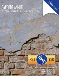 Rapport annuel du BSJ 2006-2007 - Youth Services Bureau