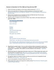 1 Answers to Questions for Print, Mail and Copy Services RFP