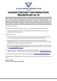 JUNIOR CRICKET INFORMATION SEASON 2012-13