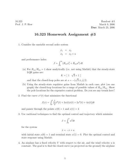 16 323 Homework Assignment #3