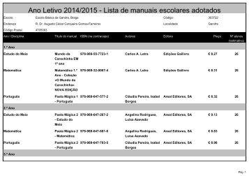 2013/2014 Lista de manuais escolares adotados - Agrupamento de ...