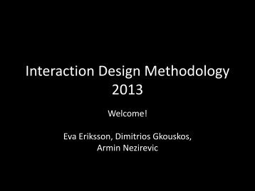 Week 1 Lecture: Introduction - Interaction Design & Technologies