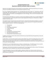 Inpatient Psychatric Department Specific Orientation Checklist