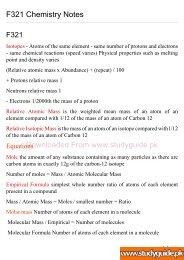 F321 Chemistry Notes - StudyGuide.PK