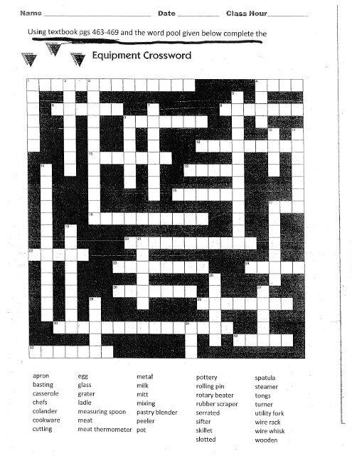 Equipment Crossword