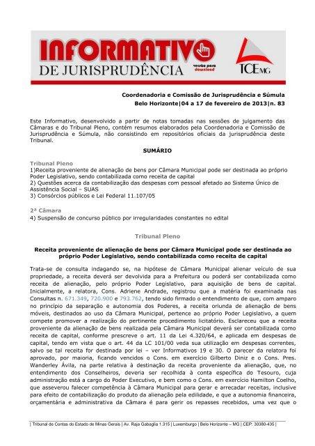 Tribunal Pleno - Tribunal de Contas do Estado de Minas Gerais