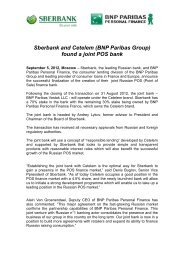 Sberbank and Cetelem (BNP Paribas Group) found a joint POS bank