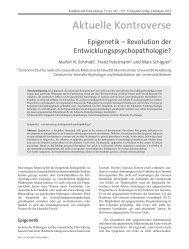 Epigenetik – Revolution der Entwicklungspsychopathologie?