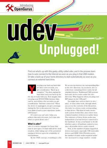 Udev unplugged - Sarath Lakshman