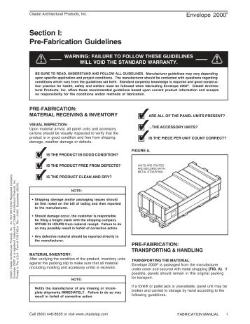 Pre-Fabrication Installation Guidelines - Citadel Architectural Products