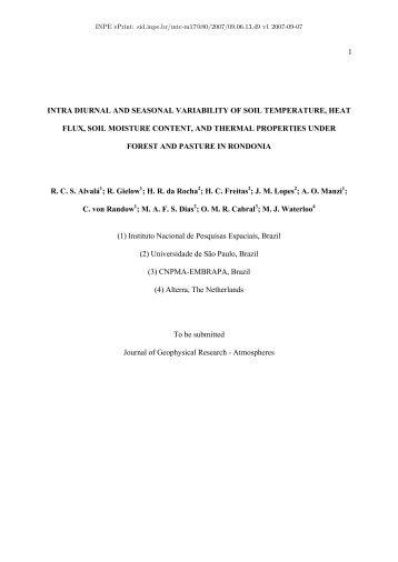1 intra diurnal and seasonal variability of soil ... - mtc-m17:80 - Inpe