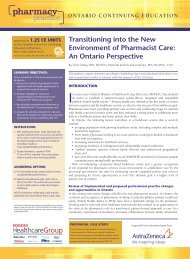 Transitioning into the New Environment of Pharmacist Care: An ...