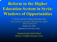Reform in the Higher Education System in Syria: Windows of ...