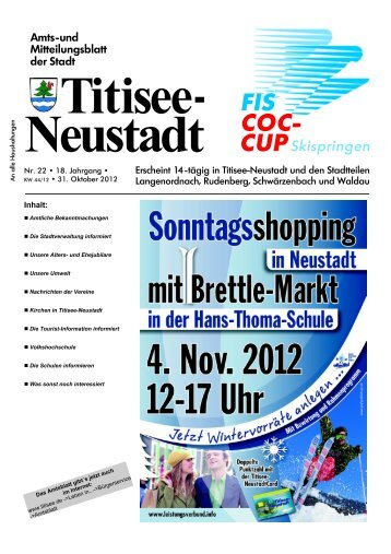 Amtsblatt Nr. 22 vom 31.10.2012 - Titisee-Neustadt