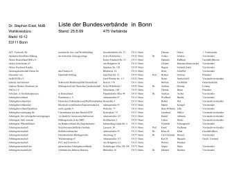 Liste der Bundesverbände in Bonn - Stephan Eisel