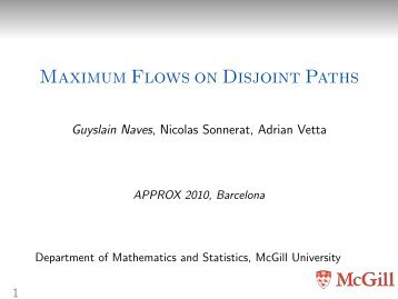 Maximum Flows on Disjoint Paths