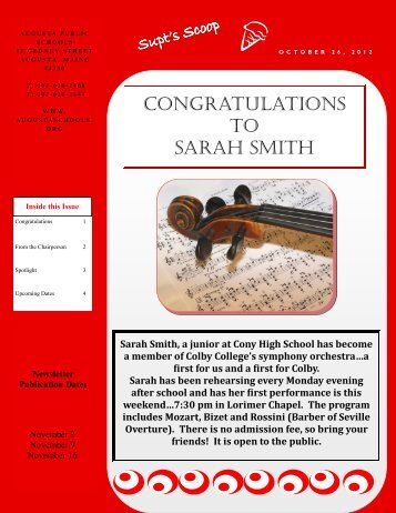 CONGRATULATIONS TO SARAH SMITH
