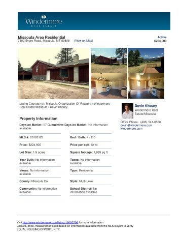 Missoula Area Residential Property Information - Windermere Real ...