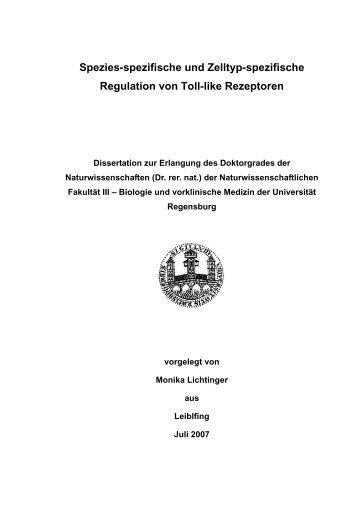 Spezies-spezifische und Zelltyp-spezifische Regulation von Toll-like ...