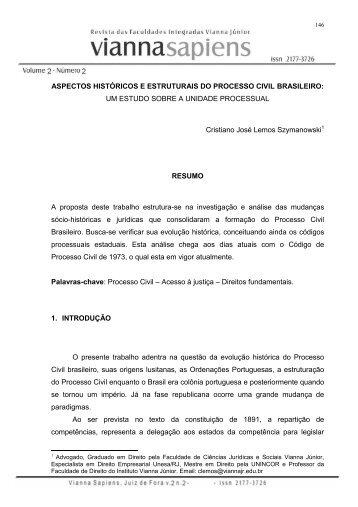aspectos históricos e estruturais do processo ... - Instituto Vianna Jr