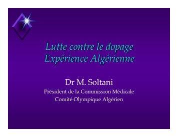 Lutte contre le dopage Expérience Algérienne