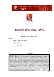 Promotion du vin français en Chine - Base de connaissance AEGE