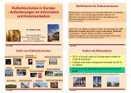 Definitionen für Kulturtourismus Arten von ... - digicult-sh.de