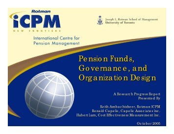 Pension Funds, Governance, and Organization Design Pension ...